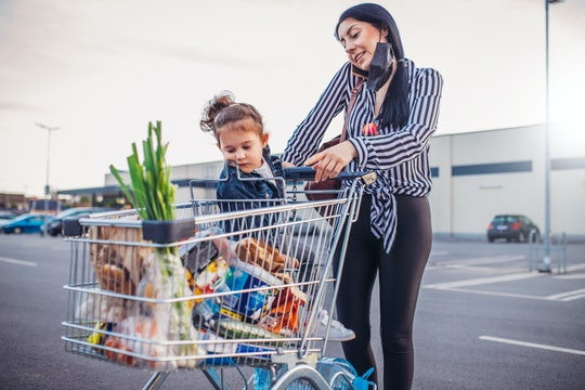 Mom and daughter were shopping for groceries.