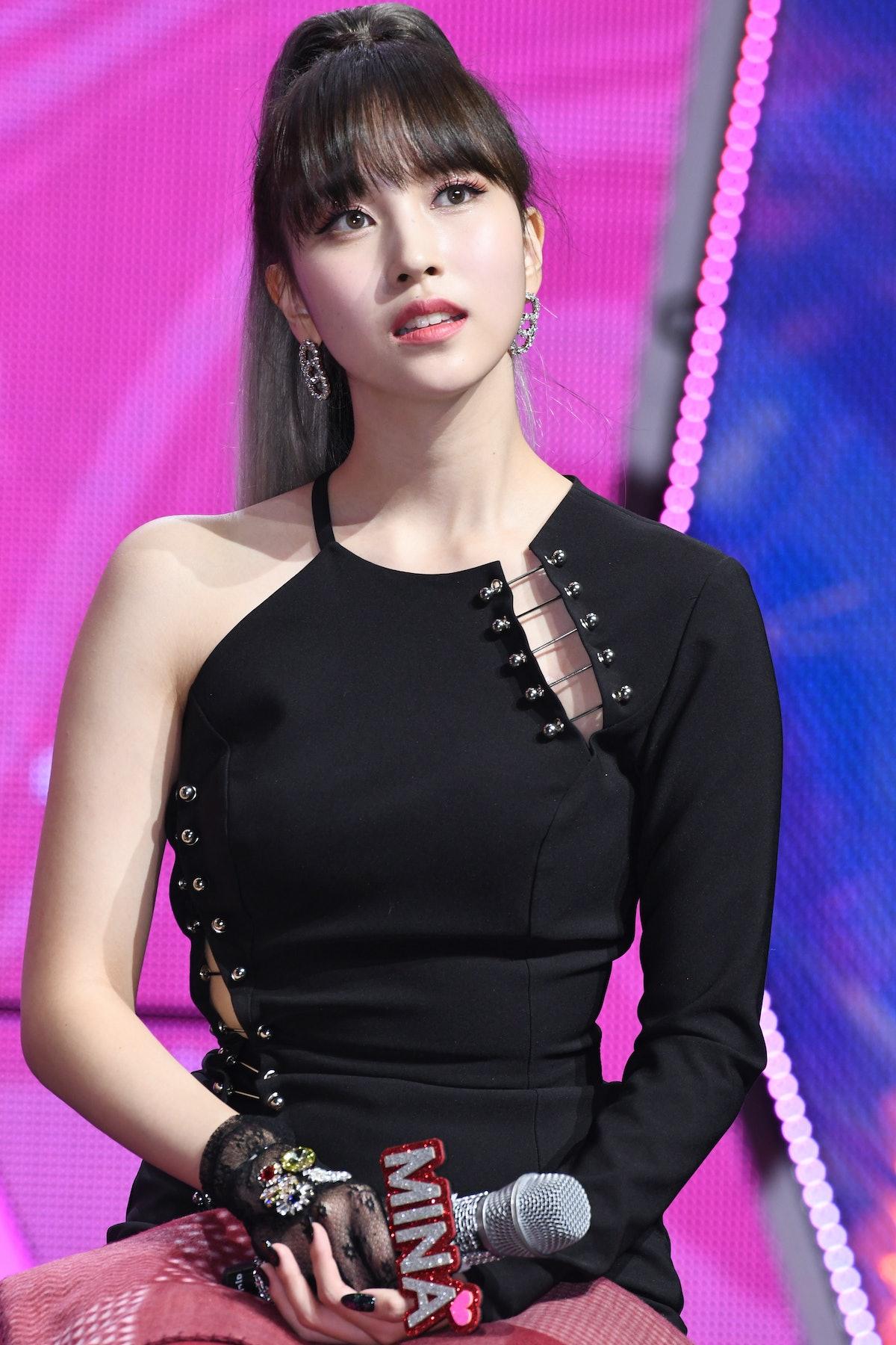 SEOUL, SOUTH KOREA - APRIL 22: Mina of TWICE attends TWICE's 7th Mini Album 'FANCY YOU' Release Show...