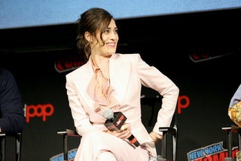 NEW YORK, NEW YORK - OCTOBER 05:  Lizzy Caplan speaks on stage at the Castle Rock Screening + Panel ...