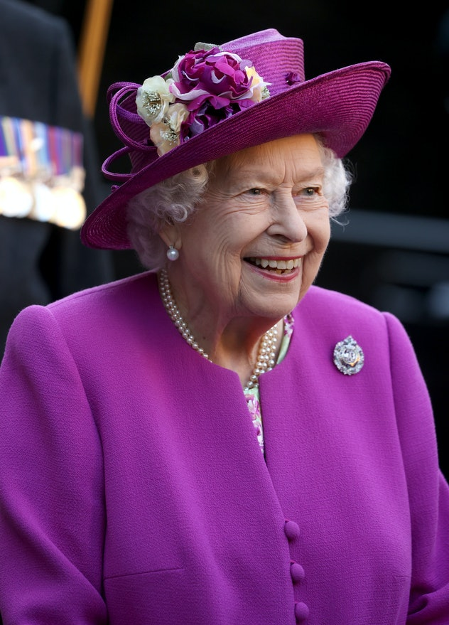STIRLING, SCOTLAND - JUNE 29: Queen Elizabeth II smiles as she departs after a museum opening during...