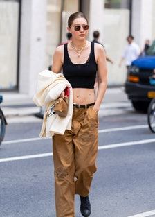 NEW YORK, NEW YORK - JUNE 28: Gigi Hadid is seen arriving for the Marc Jacobs Fashion Show at the Ne...