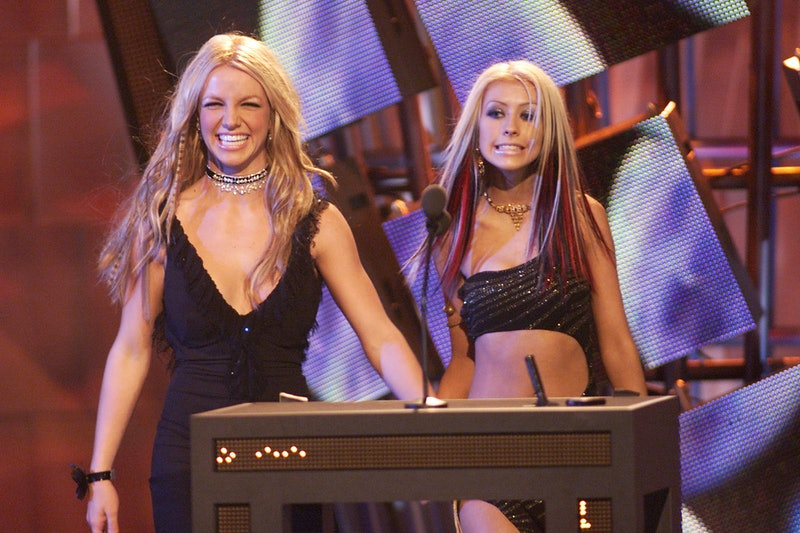Britney Spears (left) and Christina Aguilera at the 2000 MTV Video Music Awards at Radio City Music ...