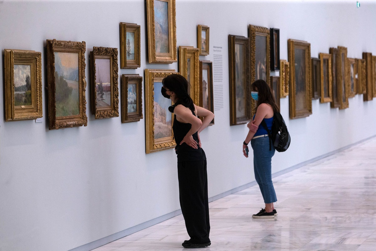 People visit the National Gallery in Athens, Greece, on May 14, 2021. All the museums in Greece reop...