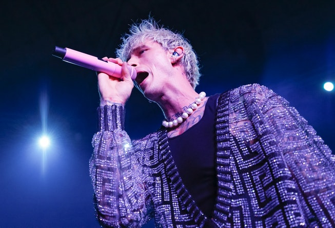 WESTFIELD, IN - MAY 28: Machine Gun Kelly performs during the Barstool 500 party at Grand Park on May 28, 2021 in Westfield, Indiana. (Photo by Michael Hickey/Getty Images)