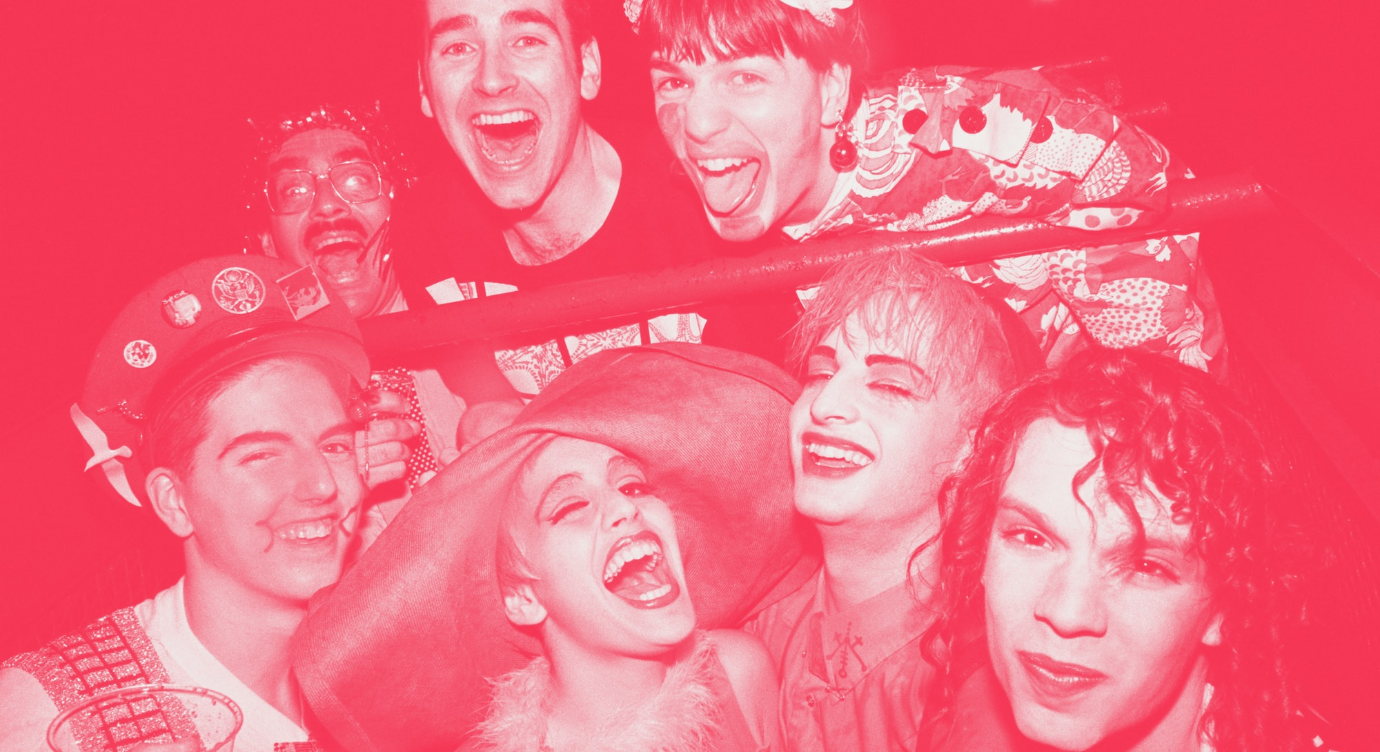 NEW YORK - April 29: Michael Alig, top right, poses for a photo with friends, including DJ Larry Tee...