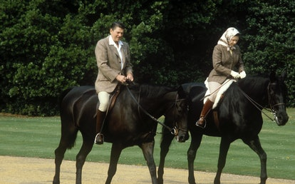 Queen Elizabeth rode on the grounds of Windsor Castle with President Reagan.
