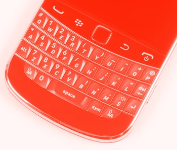 Keypad on a Blackberry Bold 9900 phone, December 8, 2011. (Photo by What Laptop magazine/Future via Getty Images)