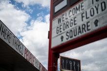 MINNEAPOLIS, MN - MAY 22: People visit George Floyd Square, on Saturday, May 22, 2021 in Minneapolis...
