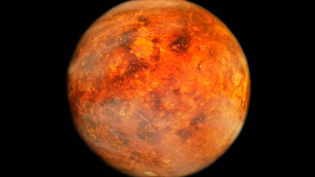 Planet Venus orbiting in space with moons concept
