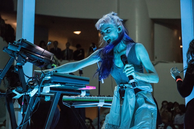 Claire Elise Boucher, better known by her stage name Grimes, performs at the Guggenheim Museum in Ne...