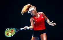 MELBOURNE, AUSTRALIA - JANUARY 11:  Naomi Osaka of Japan plays a shot  during a practice session ahe...