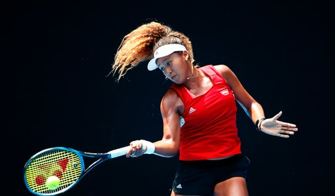 MELBOURNE, AUSTRALIA - JANUARY 11:  Naomi Osaka of Japan plays a shot  during a practice session ahead of the 2018 Australian Open at Melbourne Park on January 11, 2018 in Melbourne, Australia.  (Photo by Scott Barbour/Getty Images)