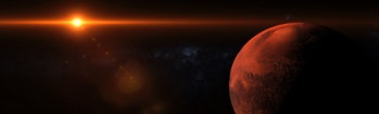 Sunrise over the planet mars orbiting in space with strong flare and shadows coming from a bright sun panoramic