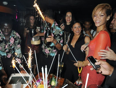 LONDON - NOVEMBER 16:  EMBARGOED FOR PUBLICATION IN UK TABLOID NEWSPAPERS UNTIL 48 HOURS AFTER CREATE DATE AND TIME. MANDATORY CREDIT PHOTO BY DAVE M. BENETT/GETTY IMAGES REQUIRED Rihanna attends the Nokia X6 launch and Rihanna birthday celebrations at Mahiki nightclub, Mayfair on November 16, 2009 in London. (Photo by Dave M. Benett/Getty Images)