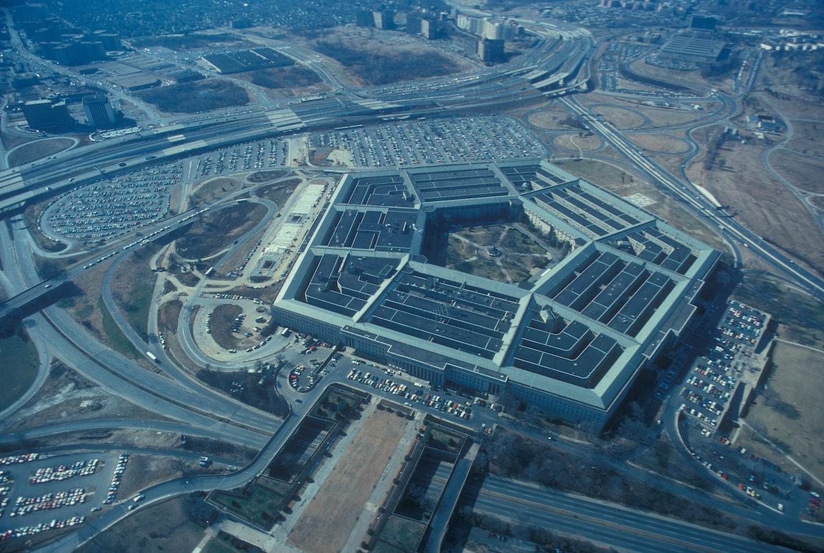 Vue aérienne du Pentagone, février 1976, Arlington, état de Virginie, États-Unis. (Photo by Claude ABRON/Gamma-Rapho via Getty Images)