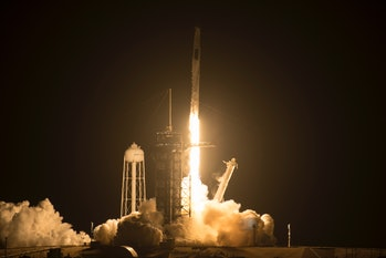 CAPE CANAVERAL, FLORIDA - APRIL 23:  In this handout provided by NASA, a SpaceX Falcon 9 rocket carrying the company's Crew Dragon spacecraft is launched on NASA's SpaceX Crew-2 mission to the International Space Station with NASA astronauts Shane Kimbrough and Megan McArthur, ESA (European Space Agency) astronaut Thomas Pesquet, and Japan Aerospace Exploration Agency (JAXA) and astronaut Akihiko Hoshide onboard, on April 23, 2021 at NASA's Kennedy Space Center in Cape Canaveral, Florida. NASA's SpaceX Crew-2 mission is the second crew rotation mission of the SpaceX Crew Dragon spacecraft and Falcon 9 rocket to the International Space Station as part of the agency's Commercial Crew Program. Kimbrough, McArthur, Pesquet, and Hoshide launched at 5:49 a.m. EDT from Launch Complex 39A at the Kennedy Space Center to begin a six month mission onboard the orbital outpost..  (Photo by Aubrey Gemignani/NASA via Getty Images)