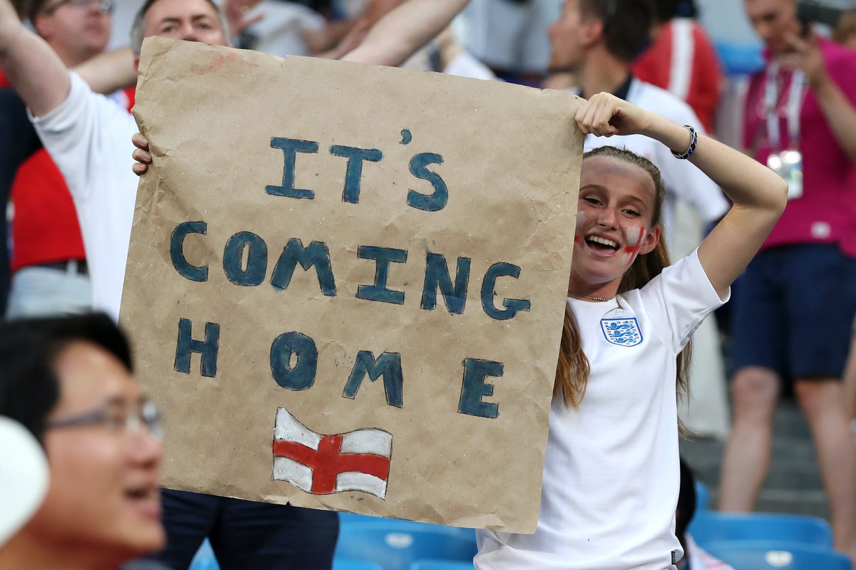 An England fan shows their support after the 2018 FIFA World Cup Russia Quarter Final match between ...