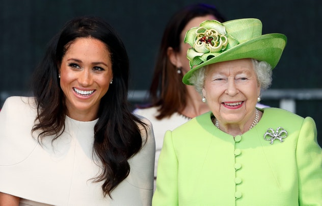 Meghan, Duchess of Sussex and Queen Elizabeth II attend a ceremony to open the new Mersey Gateway Br...