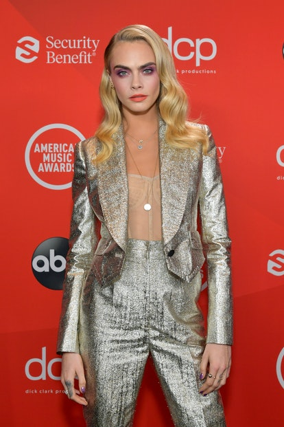 Supermodel and celebrity Leo Cara Delevingne attends the American Music Awards.
