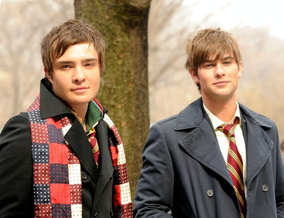 Ed Westwick and Chace Crawford on the set of ''Gossip Girl'' on March 14, 2008 in New York City.