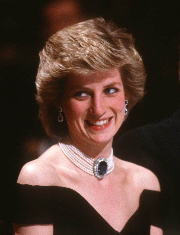 VIENNA, AUSTRIA - APRIL 16: Diana, Princess of Wales, wearing a midnight blue velvet, off the should...