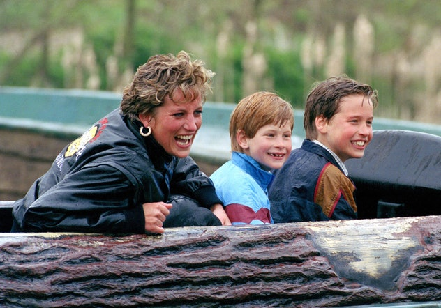 Princess Diana with a young Prince Harry and Prince William at Thorpe Amusement Park.