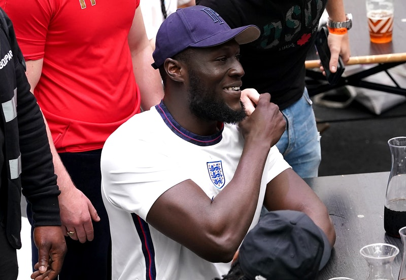 England fan and rapper Stormzy watches the UEFA Euro 2020 round of 16 match between England and Germ...