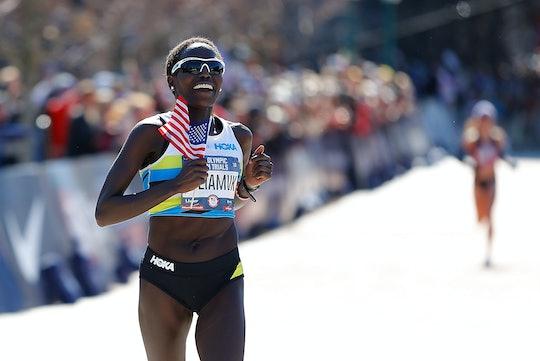 ATLANTA, GEORGIA - FEBRUARY 29:  Aliphine Tiliamuk reacts as she crosses the finish line to win the ...