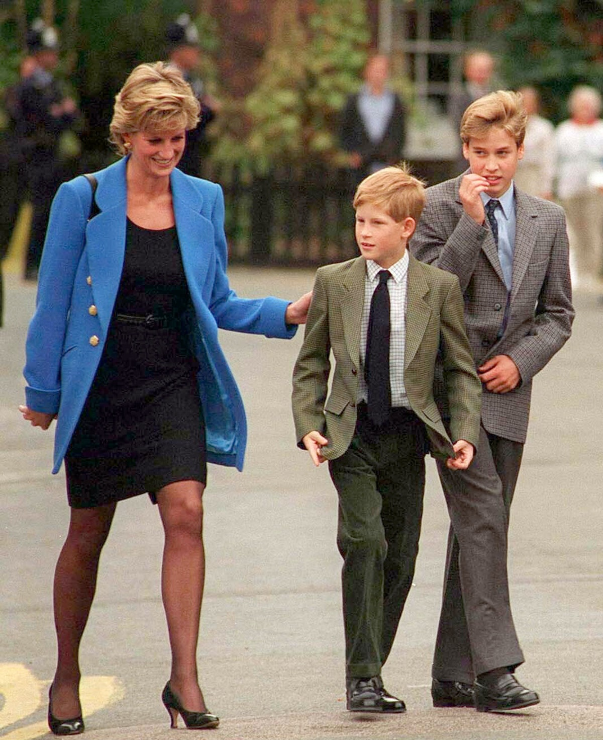 Princess Diana, shown here with her sons William and Harry, was recently honored at a statue unveili...