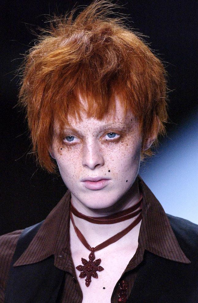 PARIS, FRANCE - OCTOBER 10: Karen Elson walks the runway during the Jean Paul Gaultier Ready to Wear...