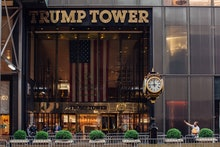 MANHATTAN, NEW YORK CITY - JULY 10, 2020: An exterior of the Trump Tower on 5th Avenue in Manhattan....