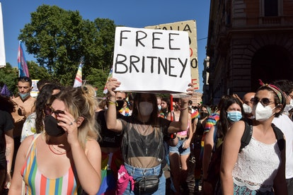 ROME, ITALY - JUNE 26: People with a sign saying Free Britney, referring to Britney Spears take part...