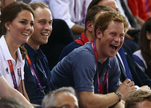 Kate Middleton, Prince William, and Prince Harry laugh while watching an event at the 2012 Olympics ...