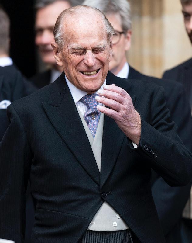 Prince Philip, Duke of Edinburgh laughs at the wedding of Lady Gabriella Windsor.