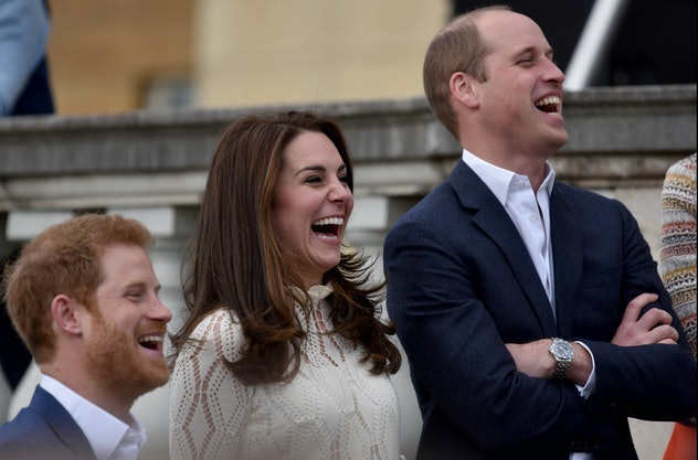 Prince Harry, Catherine, Duchess of Cambridge and Prince William, Duke of Cambridge laugh as they ho...