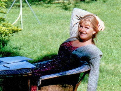 Picture shows Sophie Toscan du Plantier reclining in a wicker chair. She was a French woman who was ...