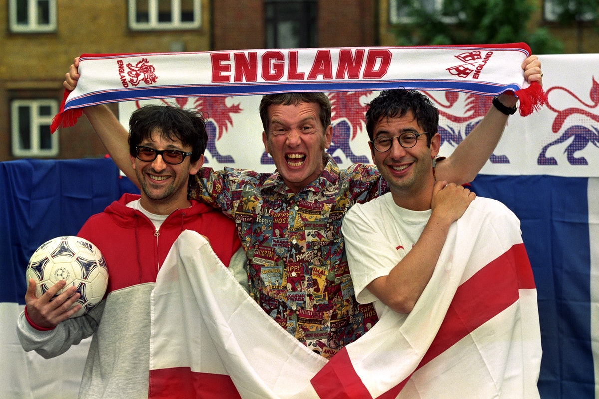 Ian Broudie from the Lightening Seeds (left to right), comedians Frank Skinner and David Baddiel at ...