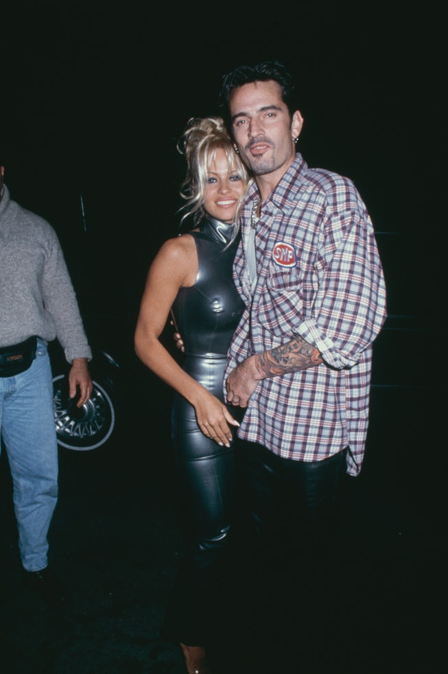 American actress Pamela Anderson and American drummer Tommy Lee at their post Wedding Party in Los Angeles, California, US, 24th February 1995. (Photo by Vinnie Zuffante/Michael Ochs Archives/Getty Images)