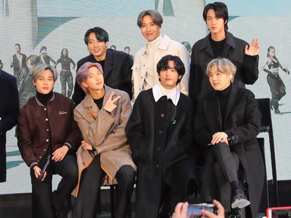 NEW YORK, NY - FEBRUARY 21: Jin, Suga, J-Hope, RM, Jimin, V and Jungkook of K-Pop band BTS are seen ...