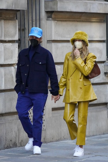 PARIS, FRANCE - FEBRUARY 28: Singer Justin Bieber and wife Hailey Baldwin Bieber are seen strolling near Les Invalides on February 28, 2021 in Paris, France. (Photo by Marc Piasecki/GC Images)