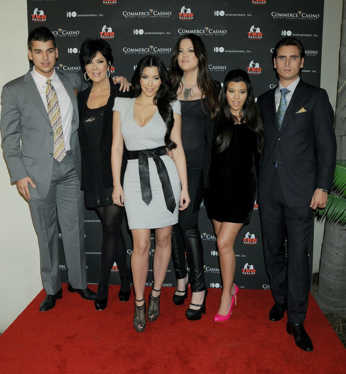 """COMMERCE, CA - NOVEMBER 3: Rob Kardashian, Kris Jenner, Kim Kardashian, Khloe Kardashian, Kourtney Kardashian and Scott Disick arrive at the """"Kardashian Charity Knock Out"""" at the Commerce Casino on November 3, 2009 in Commerce, California.  (Photo by Gregg DeGuire/FilmMagic)"""