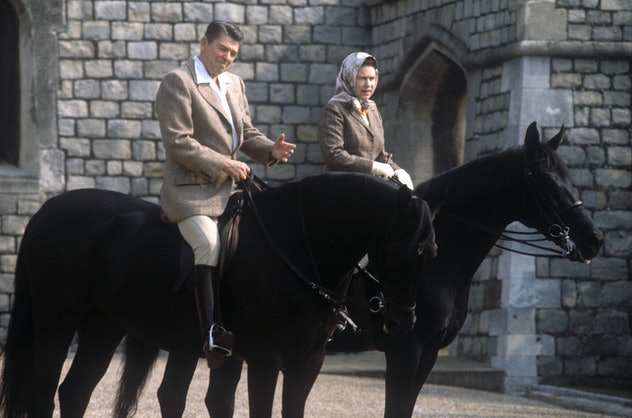 President Reagan went riding with Queen Elizabeth.