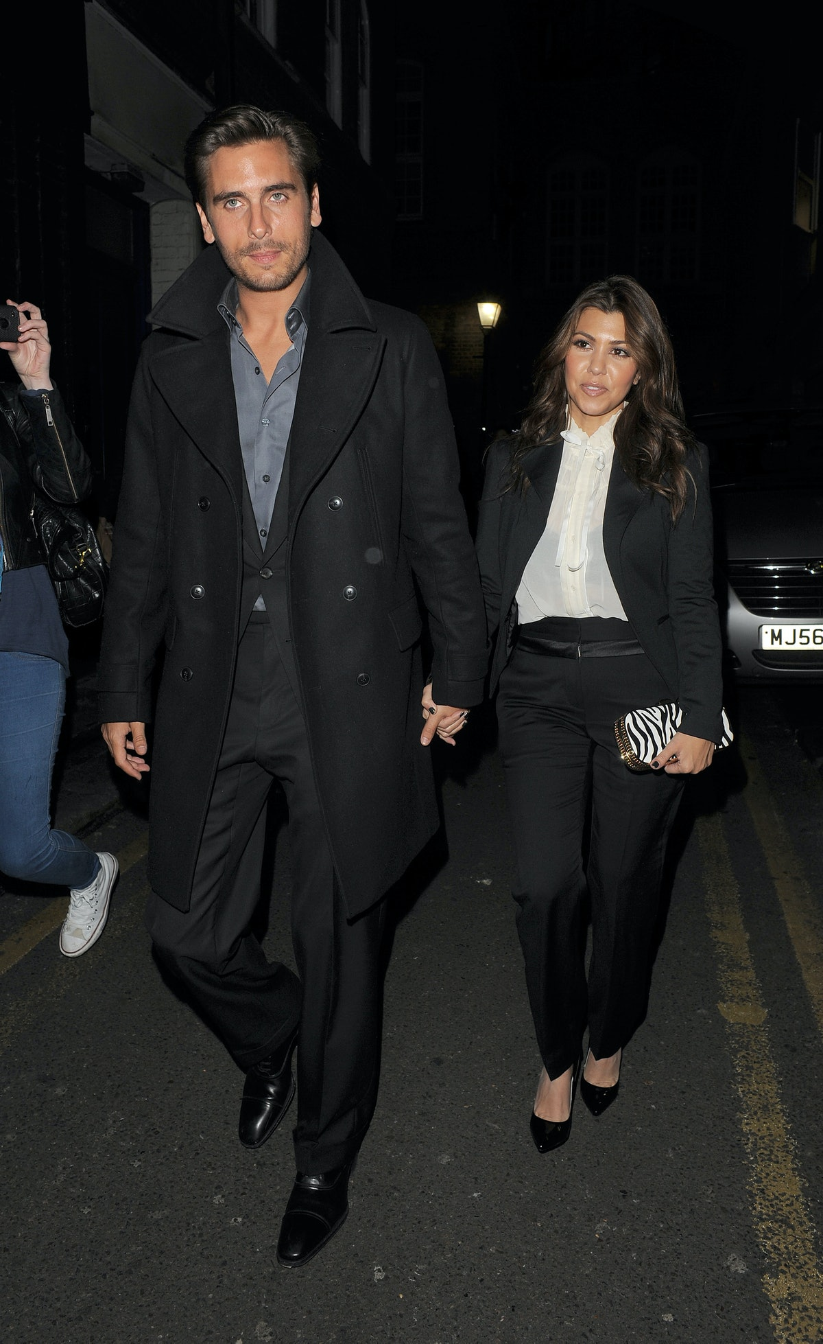 LONDON, ENGLAND - NOVEMBER 10: Scott Disick and Kourtney Kardashian leave Hakkasan restaurant on Tottenham Court Road on November 10, 2012 in London, England. (Photo by Will/GC Images)