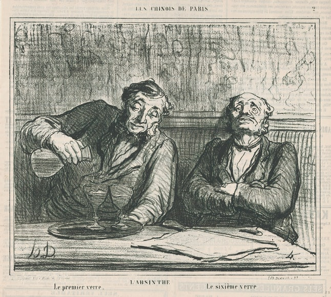 Absinthe: The first glass, the sixth glass, from 'The Chinese of Paris,' published in Le Charivari, December 22, 1863, 'The Chinese of Paris' (Les Chinois de Paris), Honore Daumier (French, Marseilles 1808–1879 Valmondois), Lithograph on newsprint; second state of two (Delteil), Image: 7 15/16 × 9 9/16 in. (20.1 × 24.3 cm), Sheet: 11 3/8 × 11 3/16 in. (28.9 × 28.4 cm), Prints. (Photo by: Sepia Times/Universal Images Group via Getty Images)