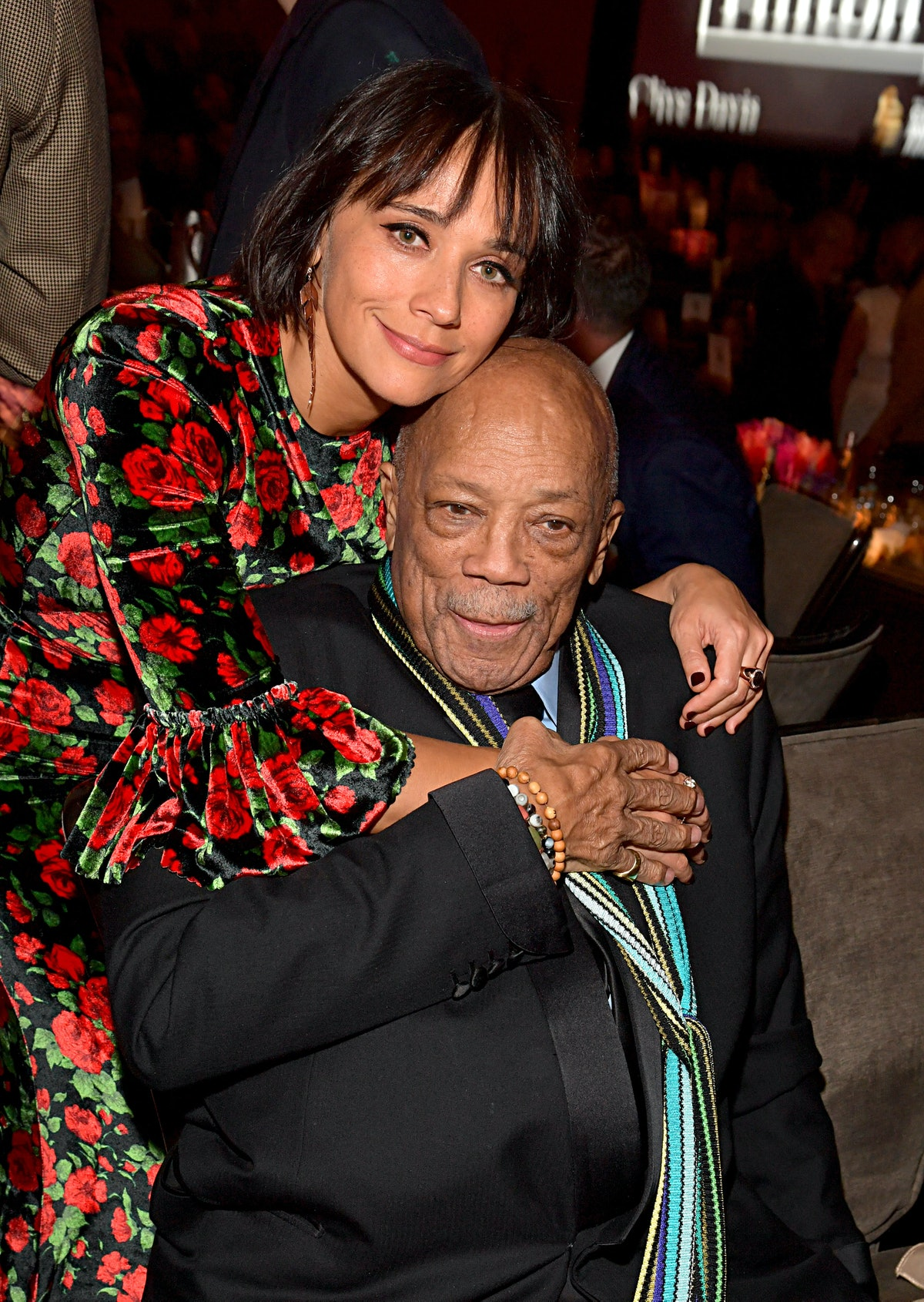 """BEVERLY HILLS, CALIFORNIA - JANUARY 25: Rashida Jones and Quincy Jones attend the Pre-GRAMMY Gala and GRAMMY Salute to Industry Icons Honoring Sean """"Diddy"""" Combs on January 25, 2020 in Beverly Hills, California. (Photo by Lester Cohen/Getty Images for The Recording Academy)"""