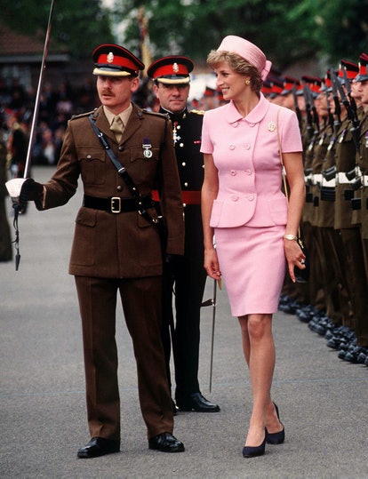 Princess Diana in pink skirt suit