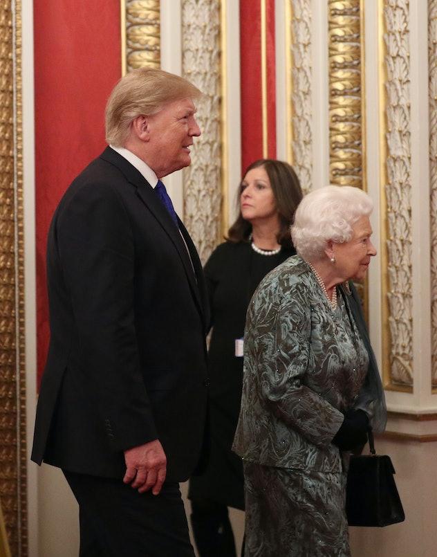 President Trump follows Queen Elizabeth.