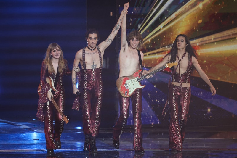 Italy's Maneskin celebrate on stage after winning the final of the 65th edition of the Eurovision Song Contest 2021, at the Ahoy convention centre in Rotterdam, on May 22, 2021. (Photo by Kenzo Tribouillard / AFP) (Photo by KENZO TRIBOUILLARD/AFP via Getty Images)