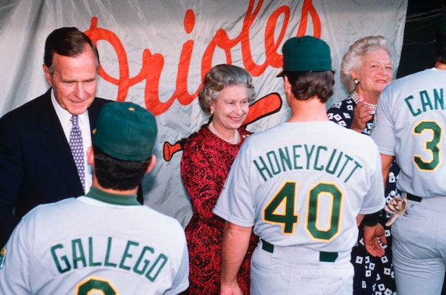 Queen Elizabeth went to her first baseball game with President Bush.