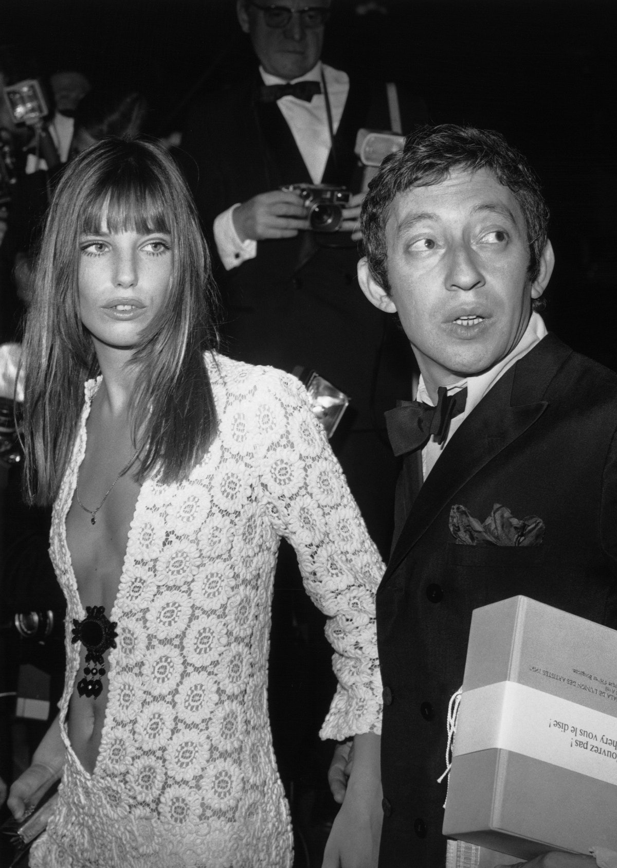 FRANCE - APRIL 25:  Serge GAINSBOURG and Jane BIRKIN arriving at the Artists Union's Gala, Paris.  (...